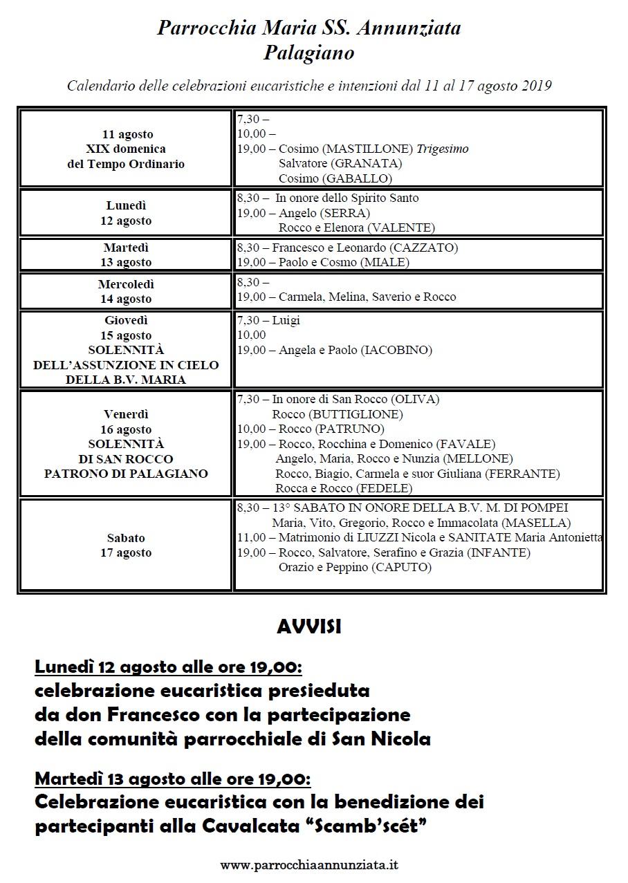 Pagina Calendario Agosto 2019.Parrocchia Maria Ss Ma Annunziata Palagiano Pagina 2